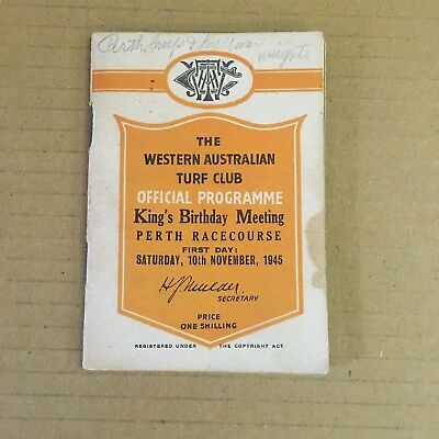 Scarce 1945 Watc King's Birthday Meeting - W.a. Guineas Race Book