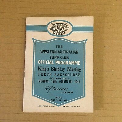 Scarce 1945 Watc King's Birthday 2Nd Day Meeting Race Book