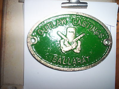 Collectable Outlaw Castings Foundry Ballarat Brass Plaque
