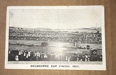 Postcard Depicting The Finish Of The 1907 Melbourne Cup