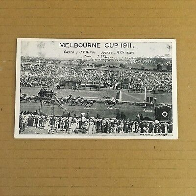 Postcard Depicting The Finish Of The 1911 Melbourne Cup