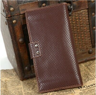 New Mens Long Casual Leather Wallet Pockets Card Clutch Cente Bifold Purse wa5