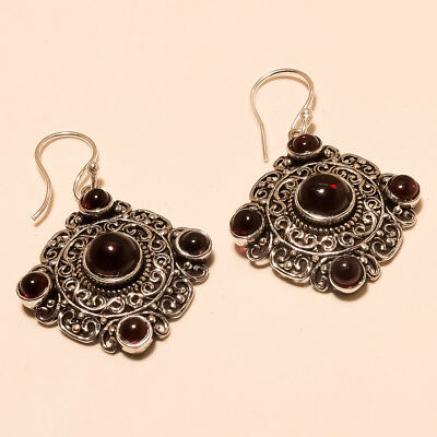Natural Mozambique Garnet SilverTone Earring Chandelier New Year Natural Jewelry