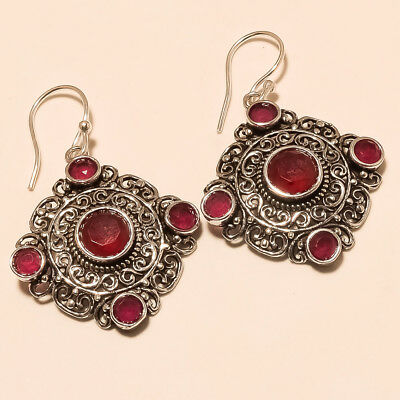 Natural African Red Ruby Silver Tone Earring Fashion Halloween Ottoman Jewelry