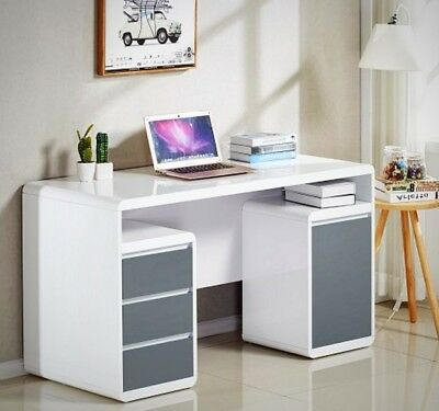 High Gloss Computer Desk with Drawers Modern Workstation Home Office Furniture