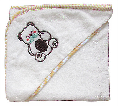 100% Combed Cotton Boys Girls Infant New Born White Baby Hooded Towel