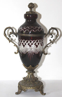 Victorian Ruby Glass Lidded Vase with Brass Base & Finial, England, c.1890 -1900