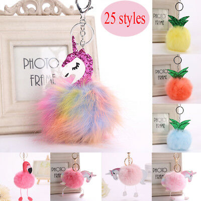 Women Unicorn Bag Car Key Chain Keyring Cartoon Fur Flamingo Pineapple Keyring