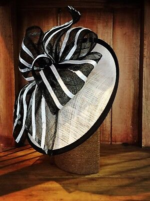 BLACK&WHITE Stripe Bow Fascinator Spring Racing Melbourne Cup