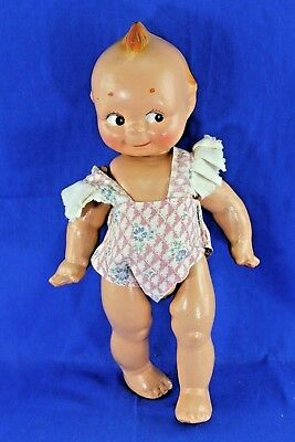 Antique Rose Oneill Cameo Composition Kewpie Fully Jointed Original Dress