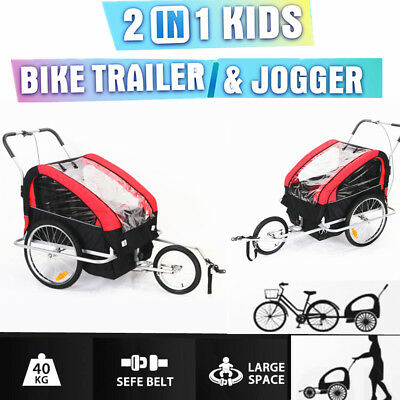 NEW 2 in i Kids Double Bicycle Trailer Foldable Two Seats Bike Cycling Trailer