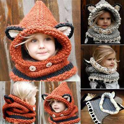 Kids Boys Girls Winter Fox Beanie Warm Hat Hooded Scarf Earflap Knitted Cap Gift