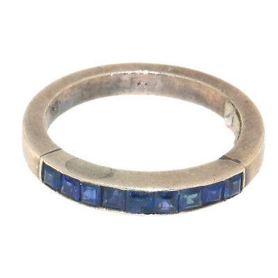 (1760)Silver and sapphire ring