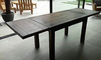 FRENCH SOLID OAK REFECTORY EXTENDABLE DINING TABLE 130-220cm