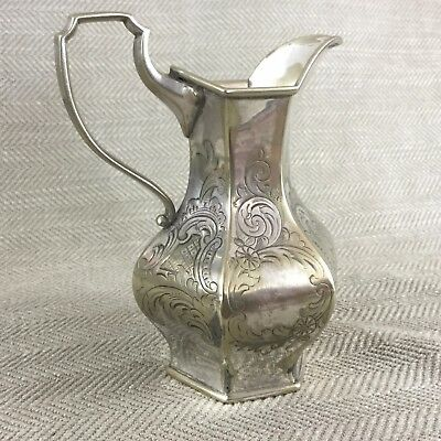 Antique Jug Silver Plated Victorian Aesthetic Ornate Rococo Scroll Engraved