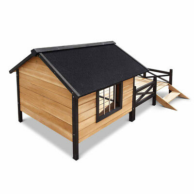 Super Large Dog Kennel Pet House With Patio Wooden Timber Bed Porch Deck New XL