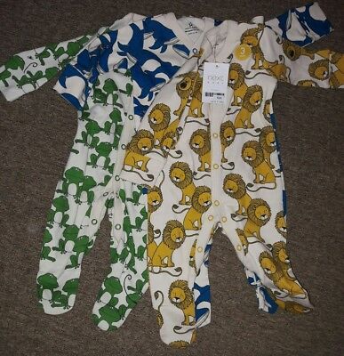bnwt baby boys next 0-3 months babygrows sleepsuits new