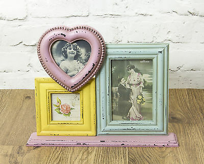 3 Picture Triple Wooden Standing Photo Frame Vintage Multi Coloured - Collage
