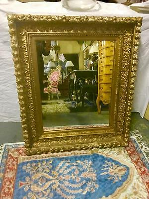 Large French Style  Heavy Carved Giltwood And Gesso Wall Mirror  82 X 96 Cm