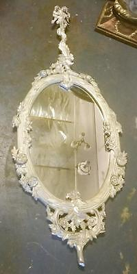 BAROQUE FRENCH UNUSUAL CARVED SILVER WALL MIRROR WITH TRAIL .180cm TALL
