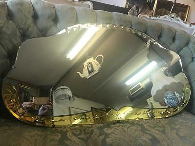 Large Antique Art Deco Cloud Shaped Bevelled Mirrot With Coloured Mirror Detail