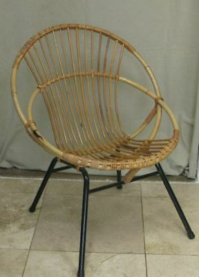 Vintage Mid century Rohe Noordwolde Cane Steel tub satellite small chair 50s 60s