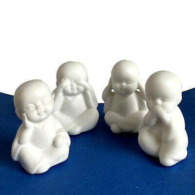 Speak Hear See Think NO Evil Buddha Monk Statues Resin Car Desk Shelf Décor 4 Pc