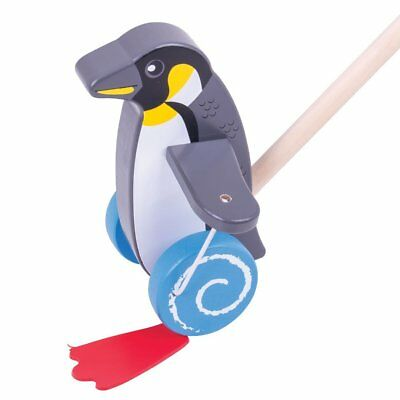 Bigjigs Toys Wooden Penguin Push Along - Walking Toys for Babies and Toddlers