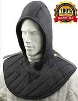 New Medieval Renaissance padded Arming cap Collar Head Neck Cotton Black SCA ./,