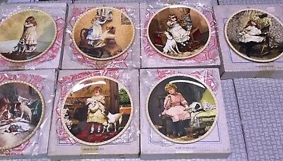 7 Royal Doulton, England, Victorian Childhood, Collector Plates, Child With Dog