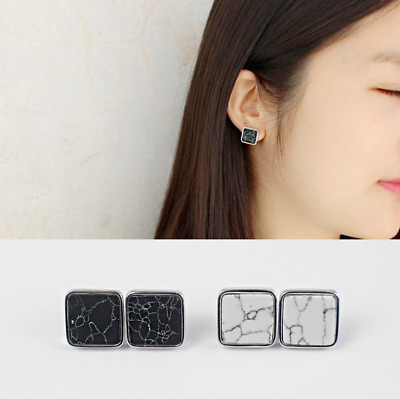 New Fashion Women Genuine S925 Sterling Silver Marble Earring Stud Vintage Gifts