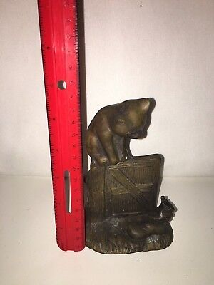 Antique Cast Iron CAT Mouse Art Statue Sculpture Bookend brass very rare kitty