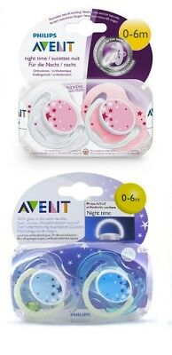 Philips Avent  Night Time Glow In Dark Silicone Soother 0-6M Boys/girls Bpa Free