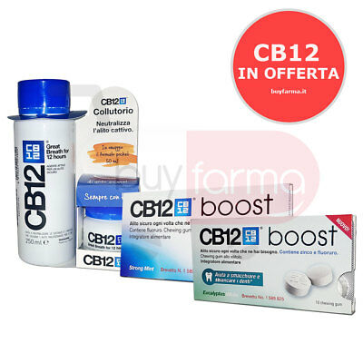 LINEA CB12 ALITOSI: Collutorio da 250ml - CHEWING GUM BOOST MINT ED EUCALYPTUS