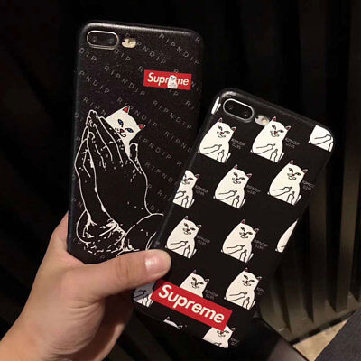 Supreme Cat Anti-fall Soft Case For iPhone X 8 7 6 6s Plus Silicon Back Cover