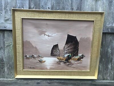 Very Large Oil Painting Seascape In Gold Gilt Frame, Signed