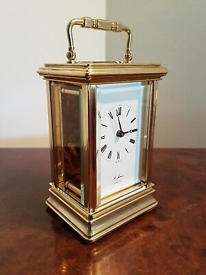 A quality carriage clock by St James London. Serviced and working perfectly. VGC