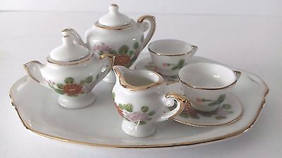 Miniature China Tea Set = Flower Decoration = Made In Japan