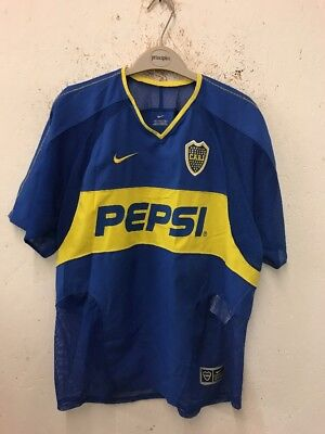 Size M Blue/Yellow Short Sleeve Retro 2003 Boca Juniors Home Shirt By Nike