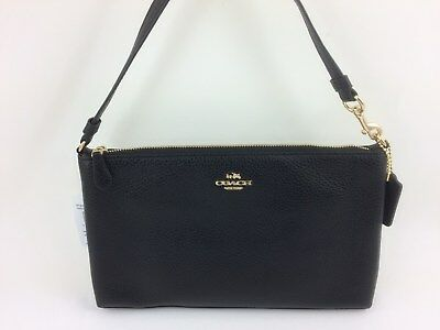 New Authentic Coach F30257 F12185 Large Wristlet 25 Natural Refined Leather BLK