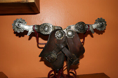 Antique Solid Silver Spurs  Fred Harvey Navajo ERA with turqoise stone