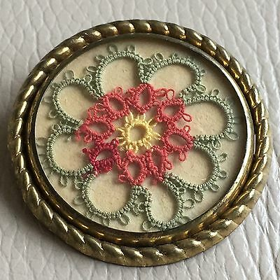 Vintage Retro Mid Century Framed GT Red Yellow Lace Sampler Brooch Mothers Day