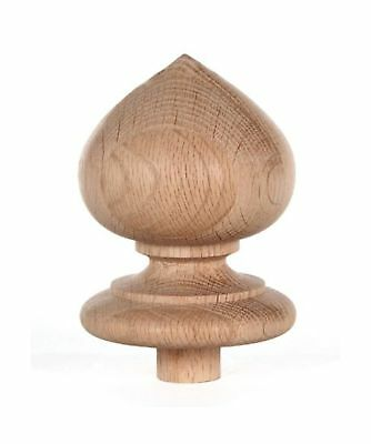 "Staircase Spade Finial Newel Post Cap Red Oak Wood (4"" H X 3 5/16"" W) FN-0100"