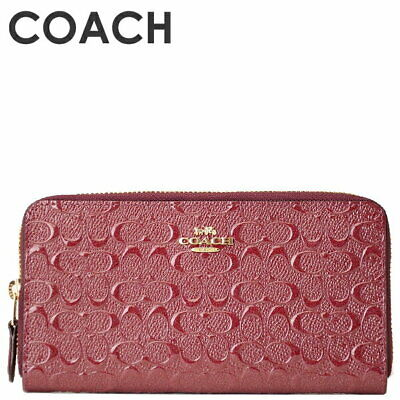 New Authentic Coach F54805 Accordion Debossed Leather Zip Around Wallet Red