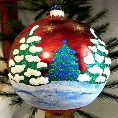 6 Inch~Luxury~Extra Large~Red Ball w/ Snowy Tree~Blown Glass Ornament~Poland