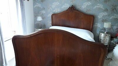 French Late 19C Antique Rococo style double bed (4Ft 6). Includes mattress
