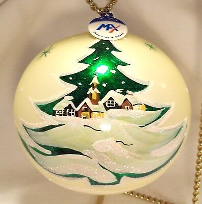 6 Inch~Luxury~Extra Large~White Ball w/Village Tree~Blown Glass Ornament~Poland
