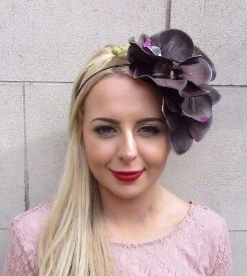 Large Black Dark Purple Orchid Flower Fascinator Headpiece Headband Races 3973