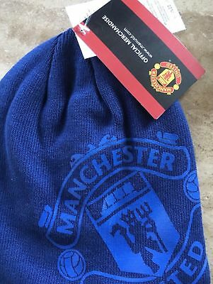 MANCHESTER UNITED Beanie Hat Kids Boys Child BLUE Ski Hat OFFICIAL