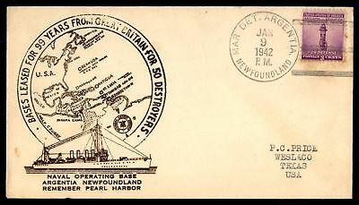 Mayfairstamps Newfoundland Mar. Det Argentia 1942 Thermographed Naval cover Jan